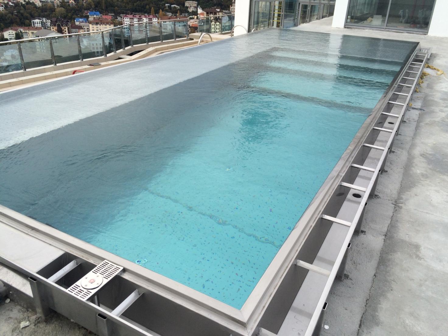 Swimming Pool Steel : Roof top owerflow steel swimming pool